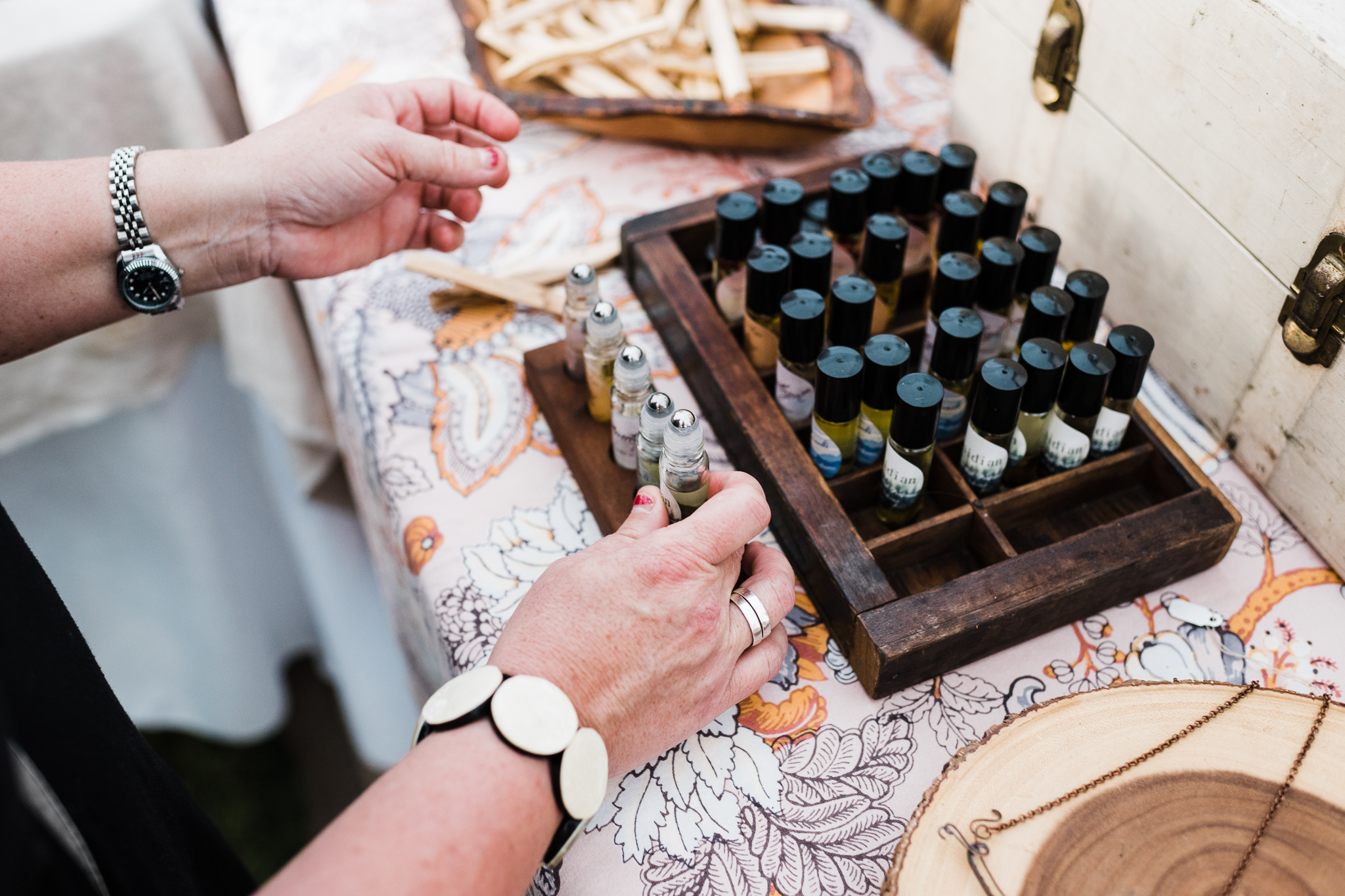 A customer testing our wellness blends at the Strawberry Festival in Fort Mill, SC  Photo by  EasterdayCreative