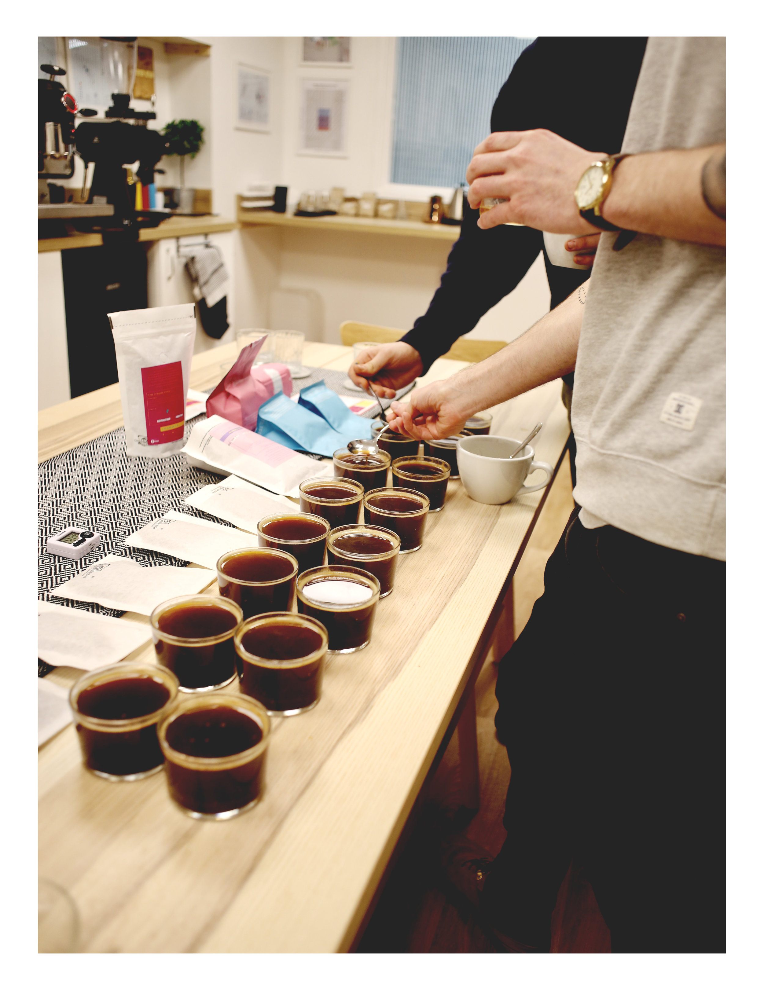 Cupping our first selection of coffee for our opening fortnight offering on   Espresso ,    Strong   from  iiCommon  from Edinburgh. Brazil & Guatemala Blend.  Tastes like chocolate cherry & roasted almonds.  Sourced from  Ally Coffee's  core coffee program.  It's a community of farmers from around the areas teaming up to produce these lots and still giving it traceability. Every bag of the Pau Brazil has a QR code which tells you exactly where the coffee came from, this is apart of the  coffee traceability certification programme . It's very rare to be able to get traceability on volumes lots like this one.   Origin:    Brazil & Guatemala     Farm:   Pau Brazil (Brazil)  Ceiba (Guatemala)    Process:   Natural (Brazil)  Washed (Guatemala)    Varietals :  Catuai (Brazil)  Caturra, Bourbon, Typica, Catuai, Catimor, Sarchimor, Pache, Pacamara (Guatemala)    Altitudes :  1100 masl (Brazil)  1500 masl (Guatemala)     Filter ,   Round Hill Roastery  from Bristol with their Colombia Tarqui Cup Series.  Coffee 1.   Rolando Cordoba Ramos    Origin:  Colombia   Farm:  Mirolindo   Producer:  Rolando Cordoba Ramos   Varietal: Colombia   Process:  Tula Fermented & Washed   Altitude:  2000   Tastes Like:  a dream (Come see us to find out.)    Coffee 2.   Sinforoso Ramos Valensula    Origin : Colombia   Farm:  El Paradiso   Producer:  Sinforoso Ramos Valensula   Varietal:  Caturra & Colombia   Process:  Tula Fermented & Washed   Altitude:  1900   Tastes Like:  bliss. (Come pay us a visit!)