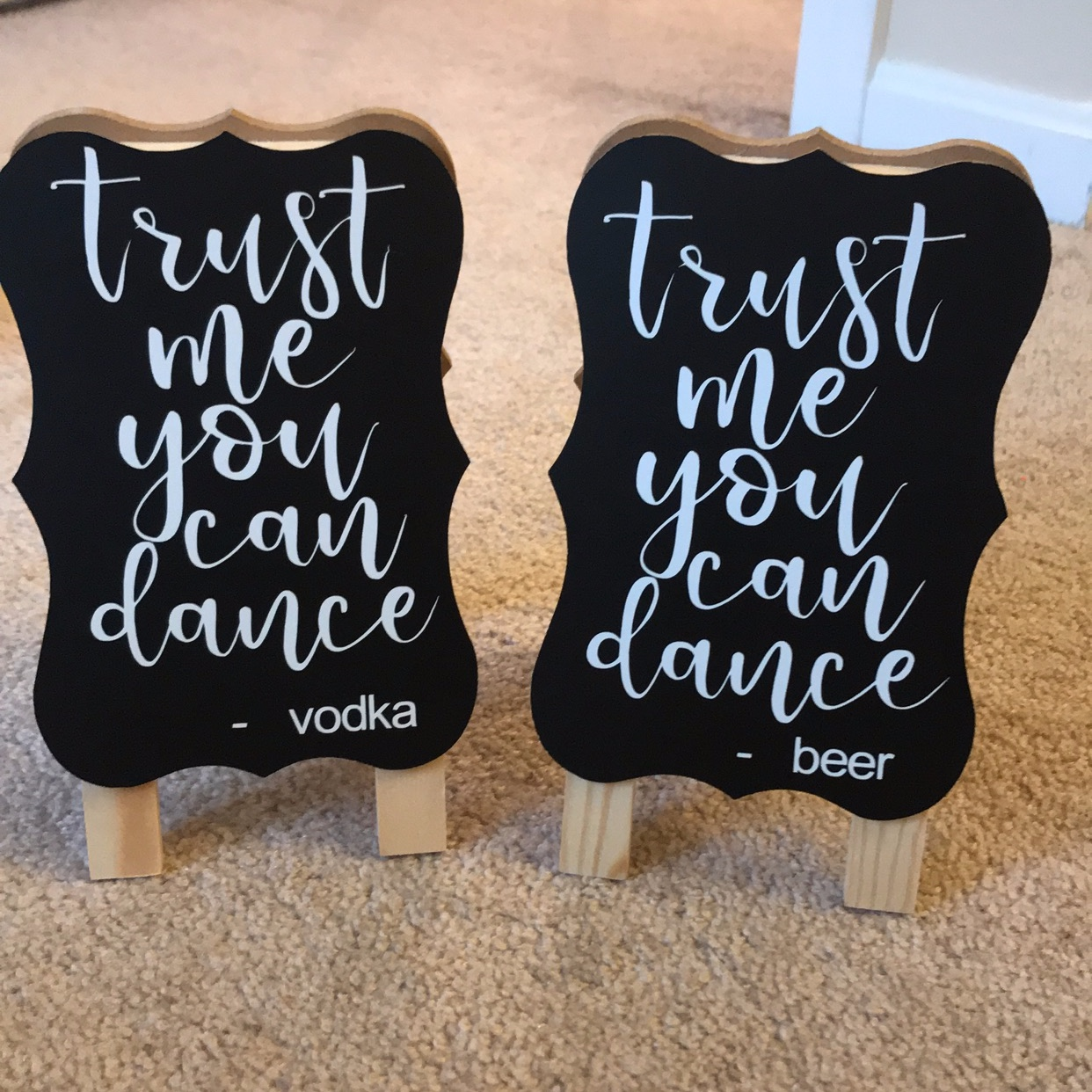 i also made bar signs for our wedding. I got these mini chalkboards from Michaels for $4.99 each.