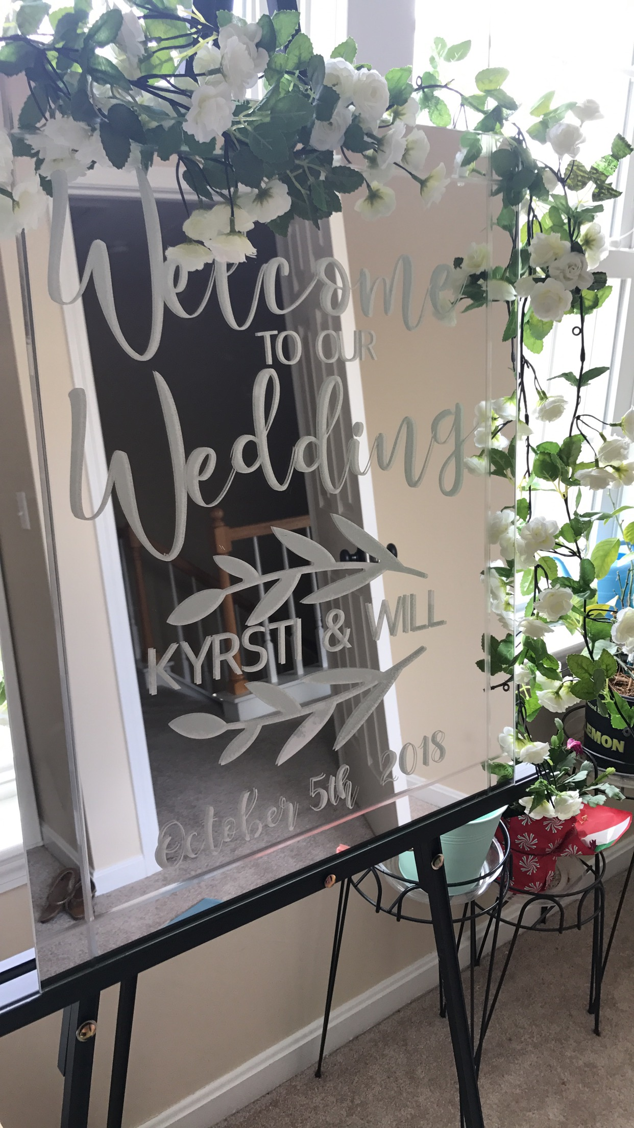 And this was my first ever project - our wedding welcome sign! (amazon link below for cling vinyl and easel)