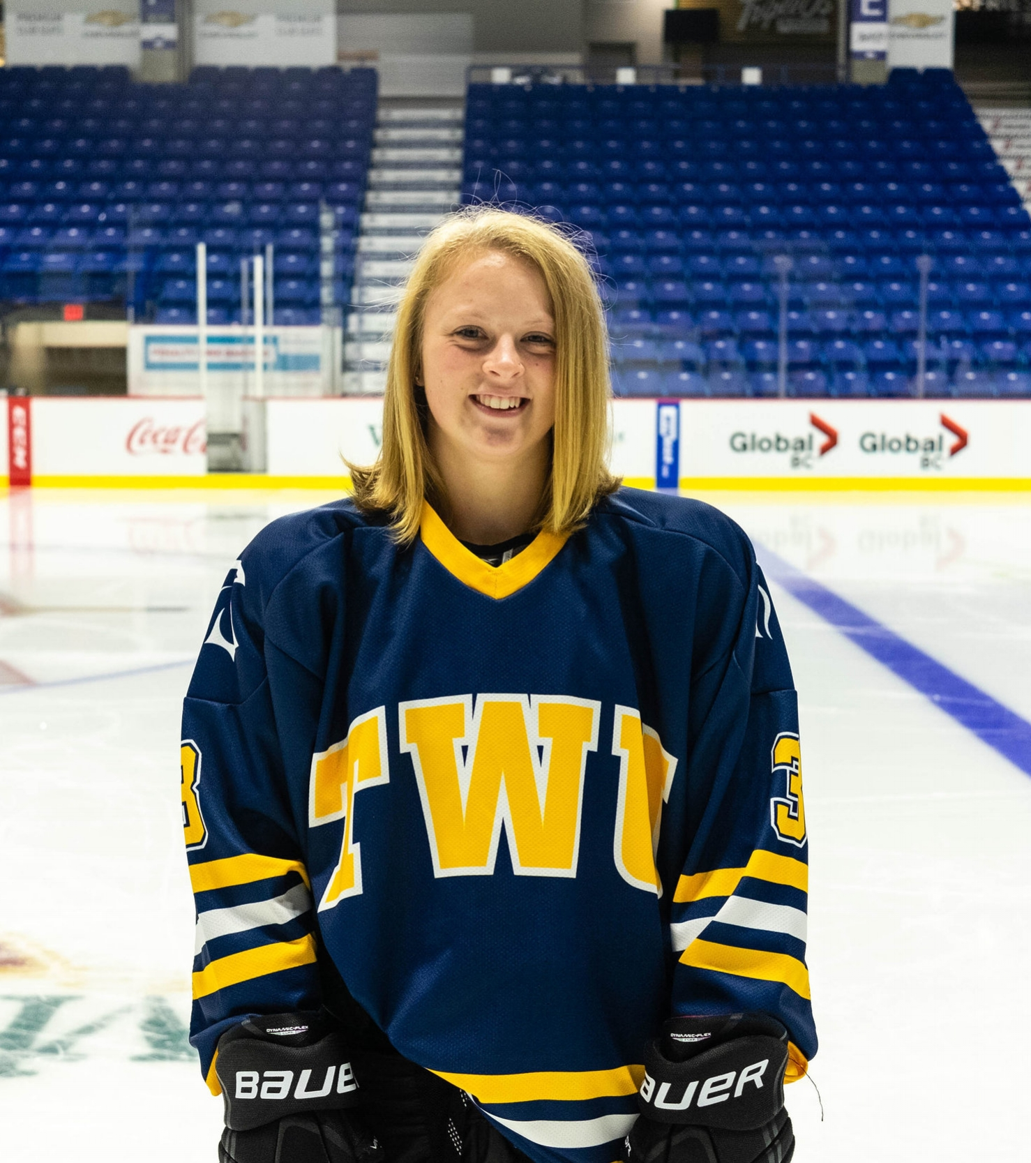 """Player of the week: """"the little one"""" - Fourth year forward Adriene Duguay is better known as, """"the little one."""" This small but big player in the game can play the Ukulele, jump rope on a popo stick and road bikes. In her 4th season with TWU hockey, she was asked who on the team is the best dancer. Her answer, """"lets be honest here... we can't dance"""".Learn more ➝"""