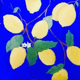 Amalfi lemon painting created at the Fondazione Passarelli, Salerno, Italy.