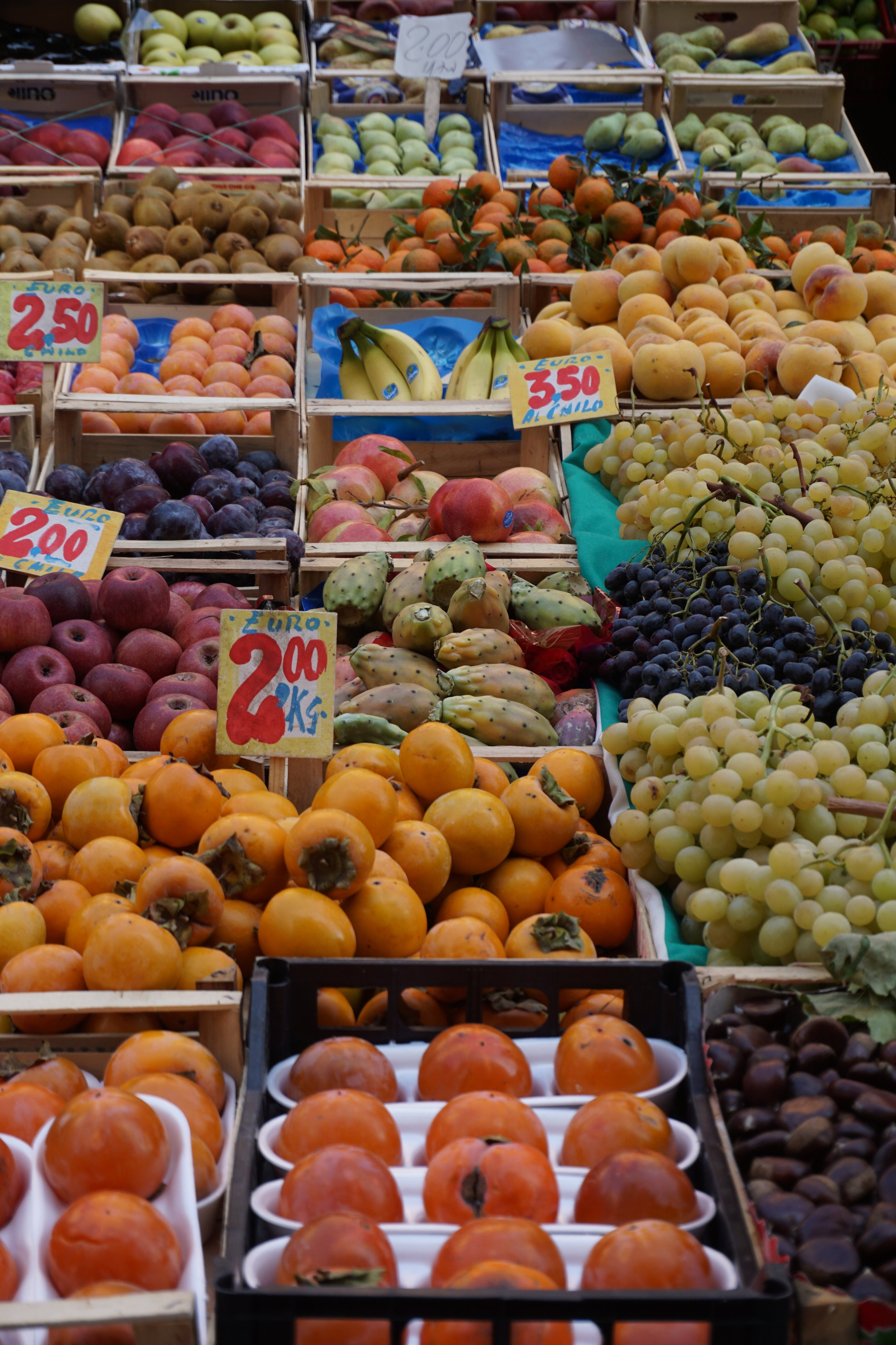 Open air market on the Mediterranean coast, Italy.