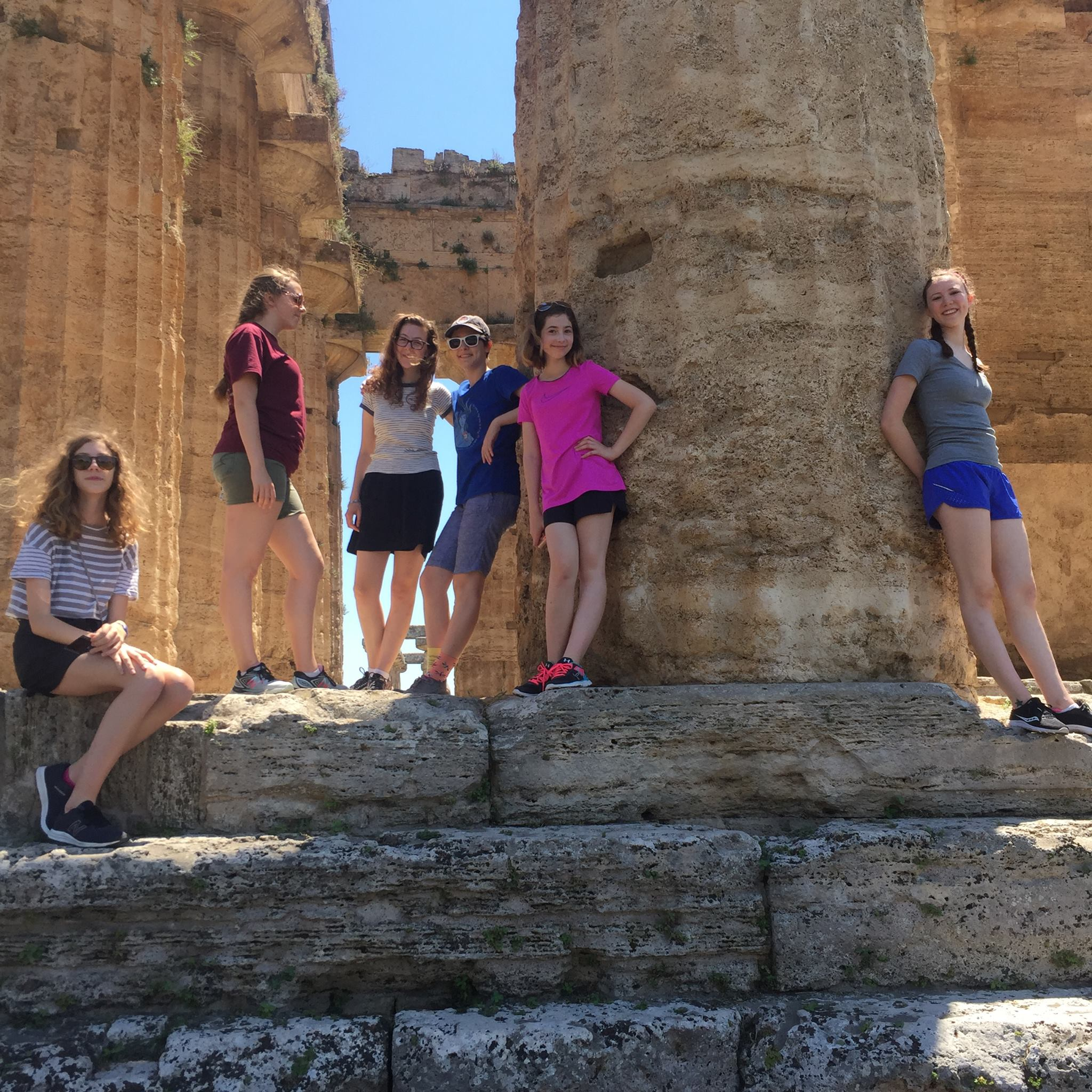 Students on tour at the Paestum Temples, just south of Salerno, Italy.