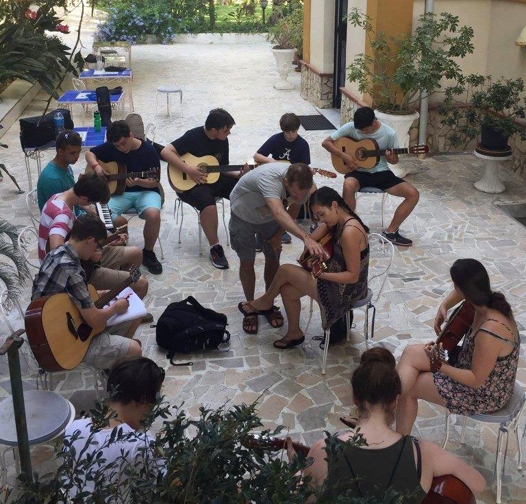 Guitar lessons at the Fondazione Passarelli, Salerno, Italy.