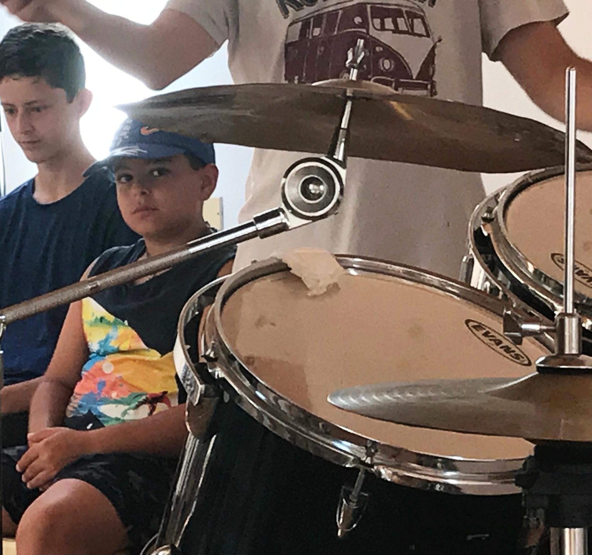 Drum lessons at the Fondazione Passarelli, Salerno, Italy.
