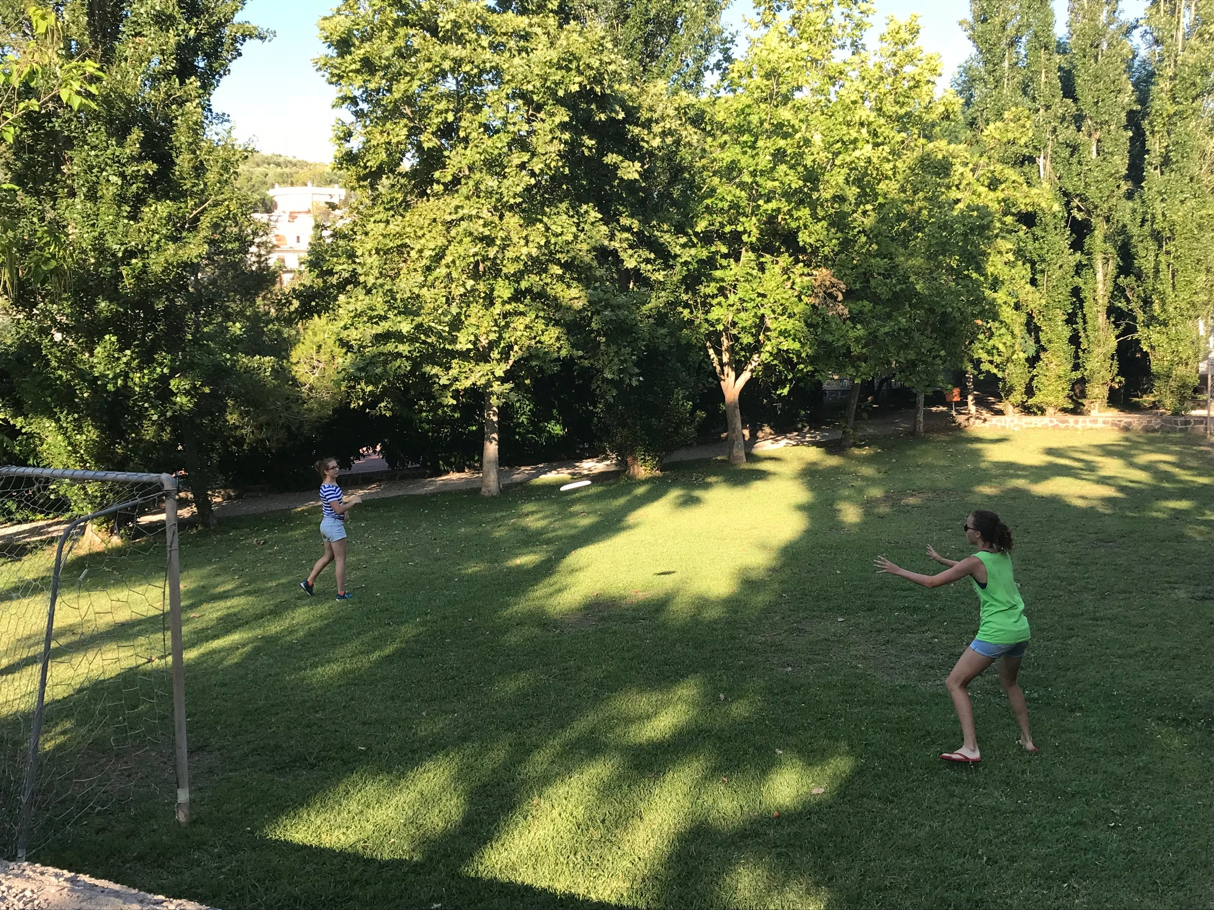 Frisbee on the beautiful grounds at the Fondazione Passarelli, Salerno, Italy..