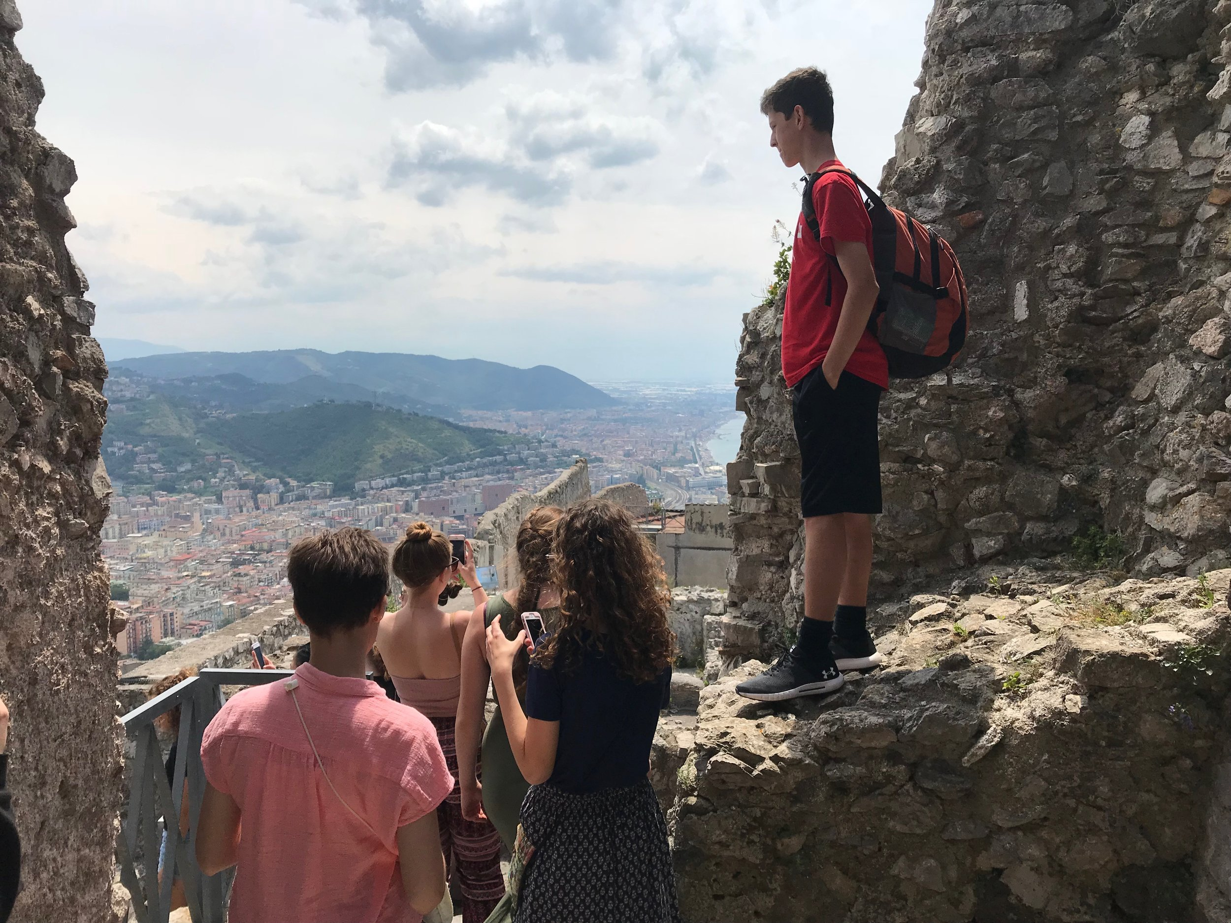 Students tour the Arechi Castle overlooking the Gulf of Salerno, Italy.