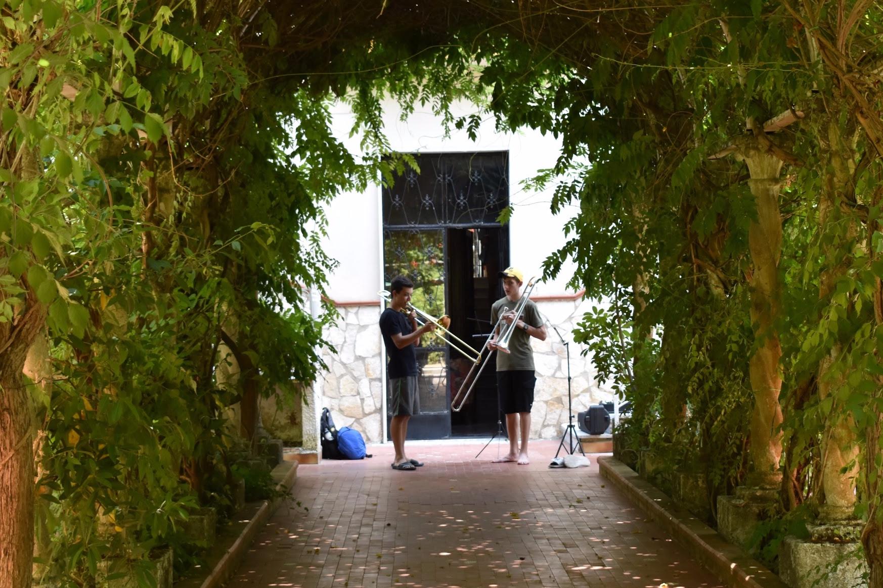 Trombone playing in the Italian sun.