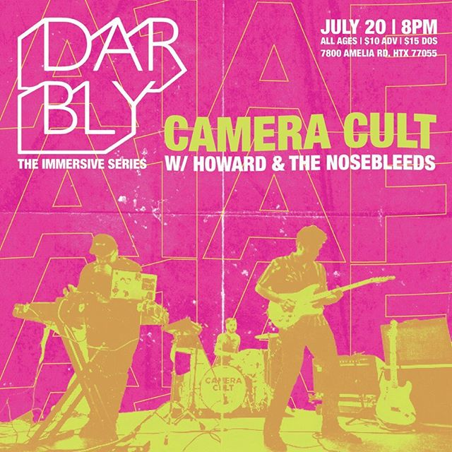 Tonight's the night! @cameracult live at @darblyentertain with @howardvision! $10 adv/$15 at door. Starts at 8pm. Ticket link in bio!