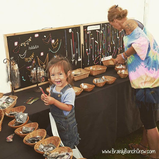 Festival-style jewellery and hair-wrapping from  The Braidy Bunch .