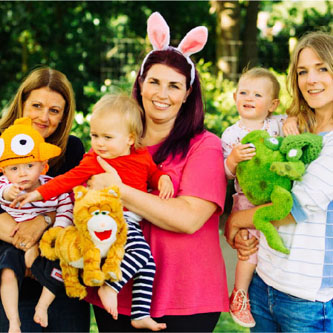 Music, puppets, laughter and fun for babiies and toddlers with  Hartbeeps.
