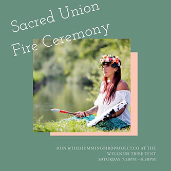 Amanda  will lead a sacred union Fire Ceremony on Saturday evening.