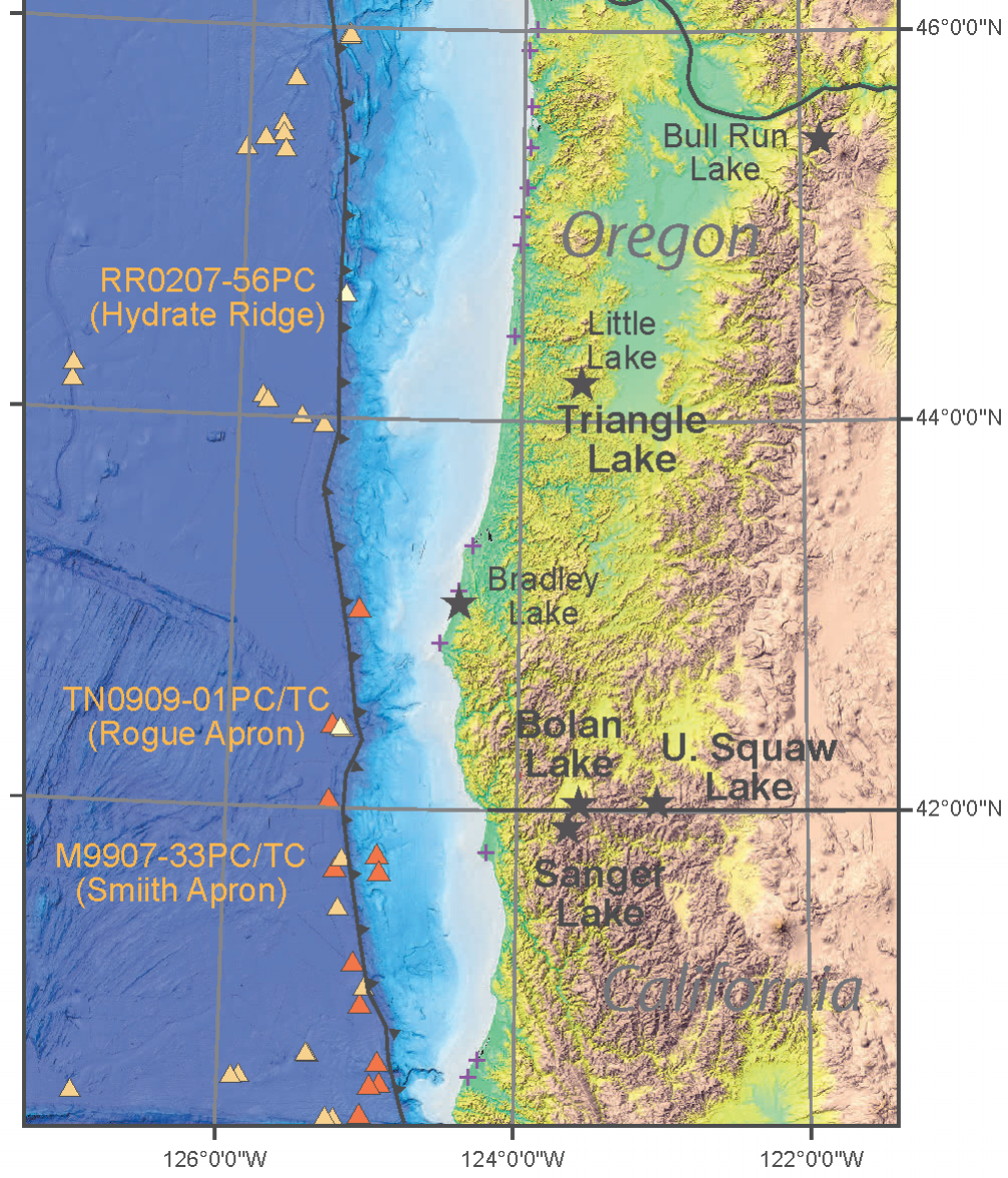 Fig 1. Lake and marine core locations used in this study. Modified from Fig. 1 of Morey et al., 2013.