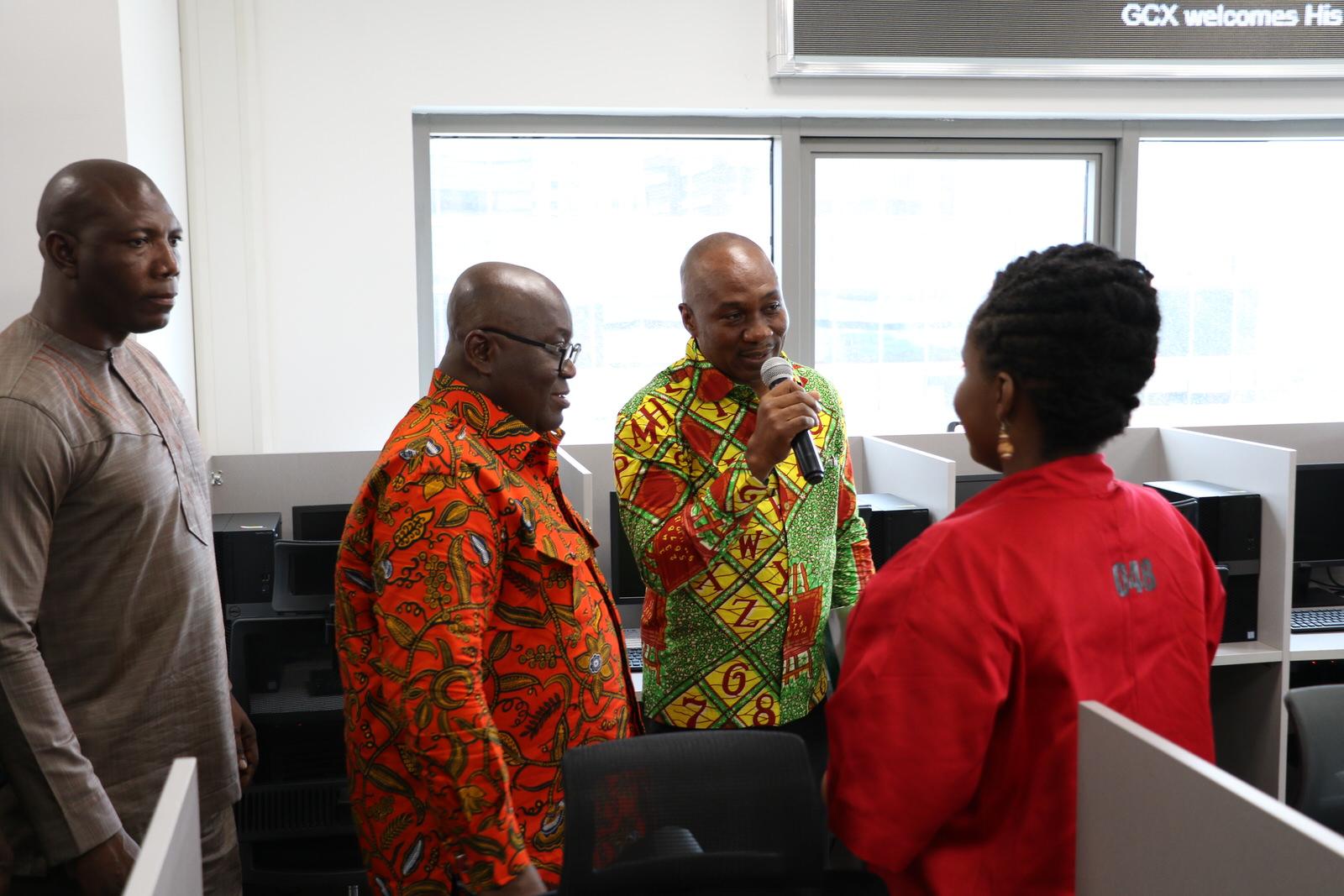 H.E Nana Akuffo Addo being introduced to trader by the Gcx CEO Alfah Khadri.JPG
