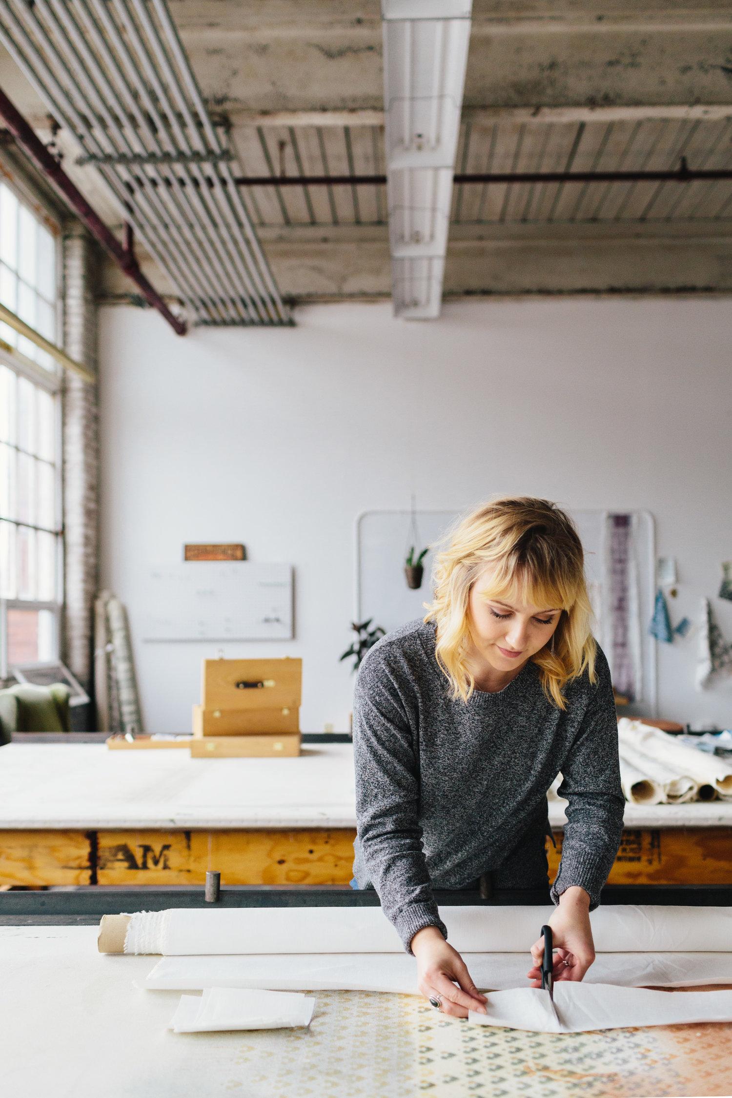 Ellisha Alexina  in her studio // Photo:  Joyelle West