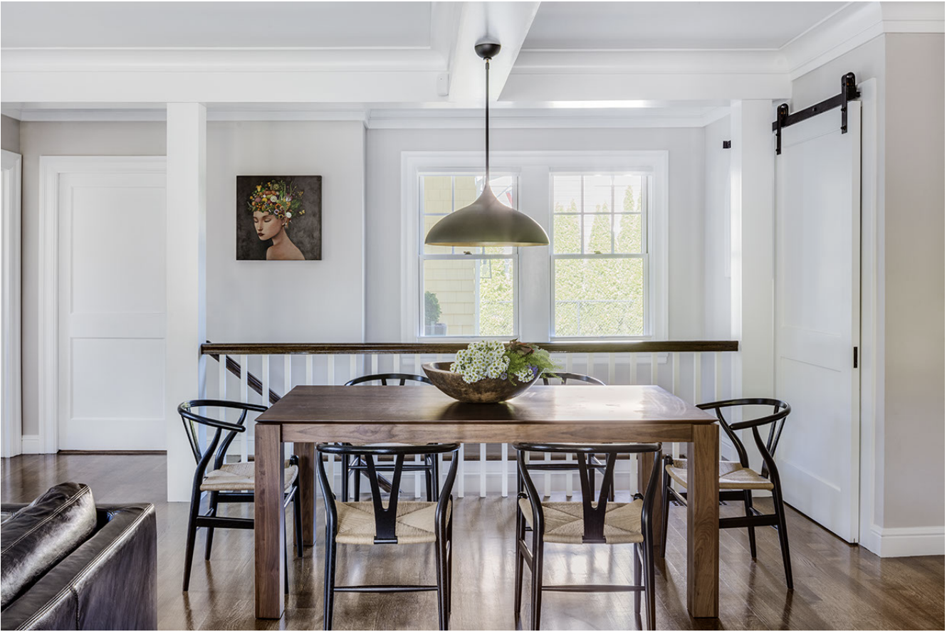 Kitchen eating area. Table:    Lekker Home   ; Chairs: Carl Hansen Wishbone Chairs, available at    Lekker Home   ; Pendant:    Circa Lighting   . Architecture by Carter Williams,    LDa Architecture & Interiors    // Interiors by Lindsay Bentis,    Thread    // Photo:    Greg Premru
