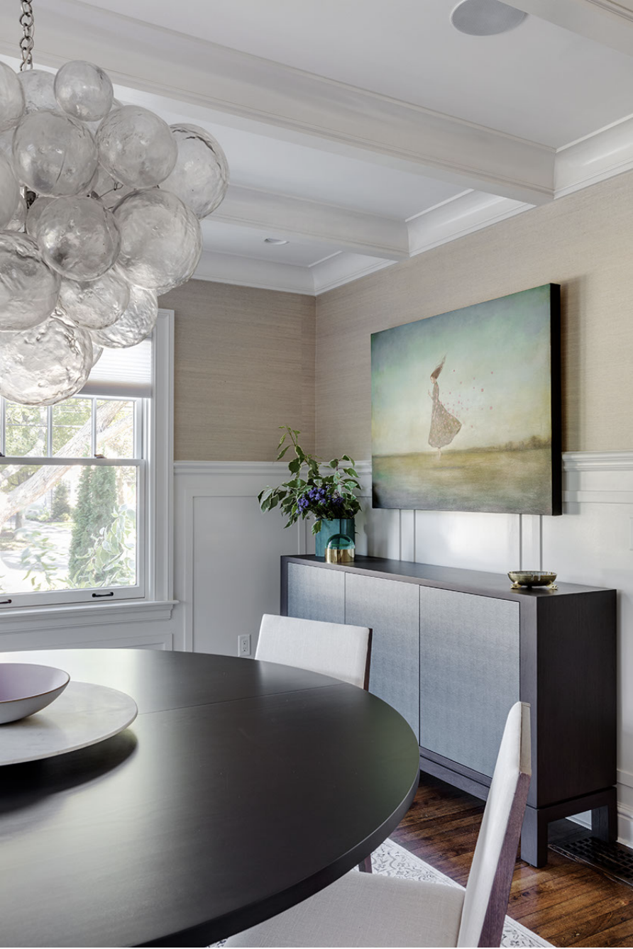 Dining Room. Table: Custom design by    Jeff Soderbergh   ; Pendant:    Oly   . Console: Custom by    Desiron   . Architecture by Carter Williams,    LDa Architecture & Interiors    // Interiors by Lindsay Bentis,    Thread Interiors    // Photo:    Greg Premru
