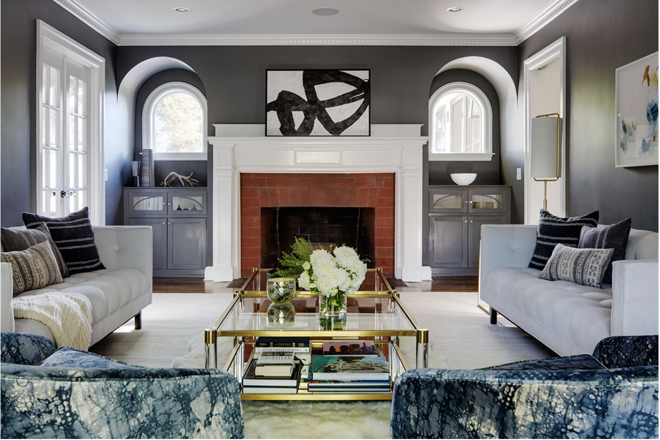 Living Room. Sofas:    Restoration Hardware   ; Coffee tables:    Anthropologie   ; Chairs: vintage. Architecture by Carter Williams,    LDa Architecture & Interiors    // Interiors by Lindsay Bentis,    Thread Interiors    // Photo:    Greg Premru