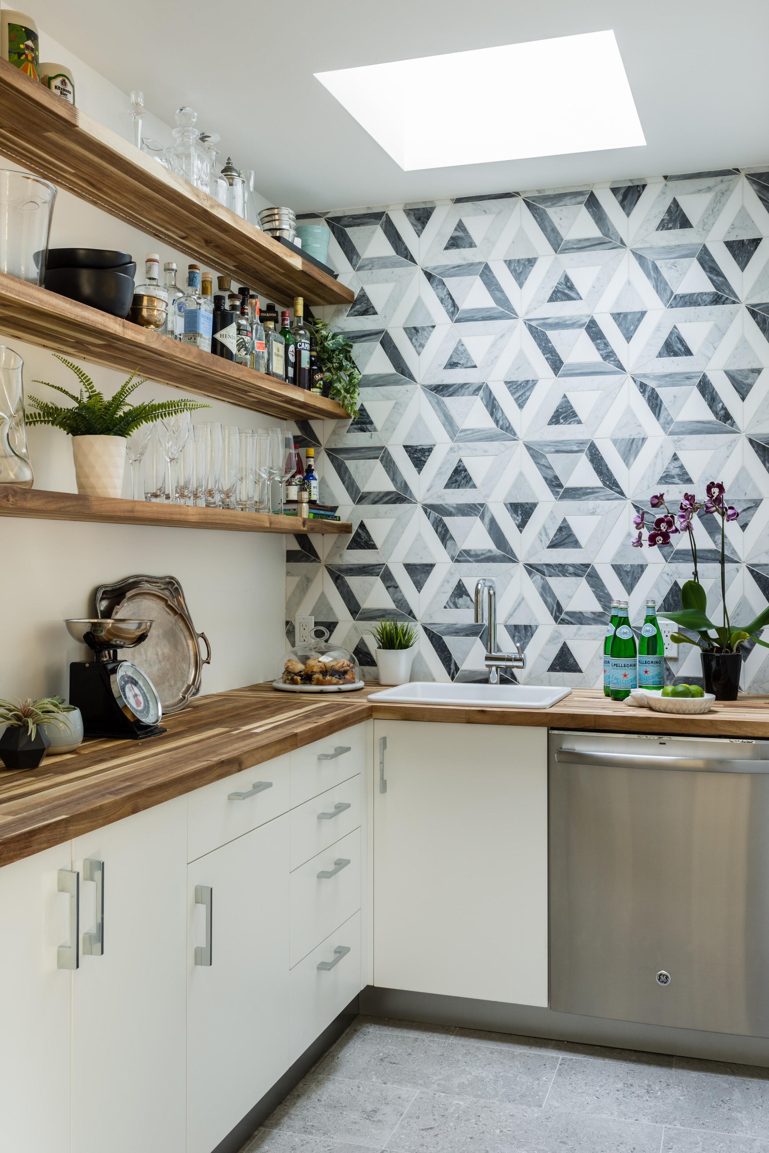 Wall + Cabinet Color,  Benjamin Moore Distant Grey ; Acacia Wood Shelves; Floor  Daltile ;  Ann Sacks Tile ; Interior Design: Anna Rostron, homeowner // Photo:  Jessica Delaney Photography