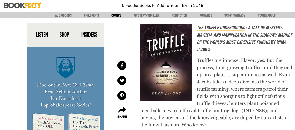 """""""INTENSE."""" —BookRiot, on its list of Foodie Books TBR in 2019 (April 26, 2019). -"""