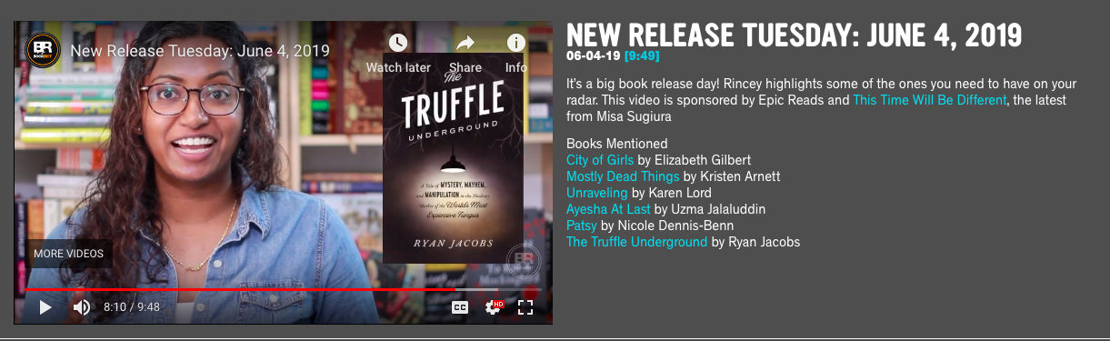 """The Truffle Underground is featured in a """"New Release Tuesday"""" video. —BookRiot (June 4, 2019) -"""