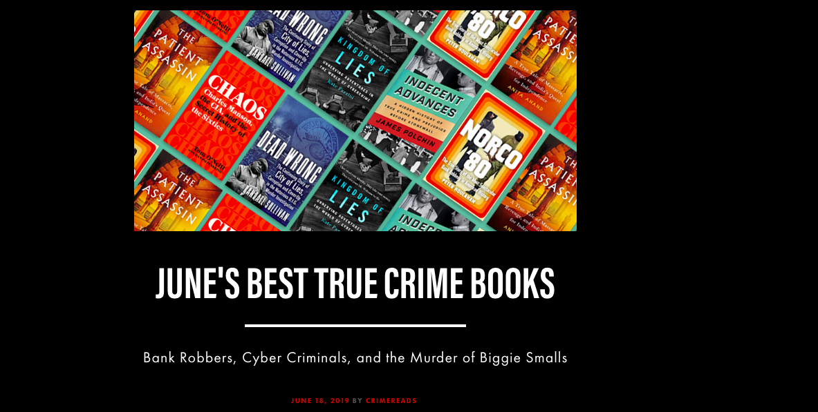 """""""a kind of bandit culture that Jacobs documents brilliantly."""" —Crime Reads, on """"June's Best True Crime Books"""" list (June 18, 2019) -"""