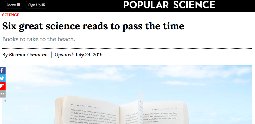 """""""Six great science reads to pass the time."""" —Popular Science (July 24, 2019) -"""