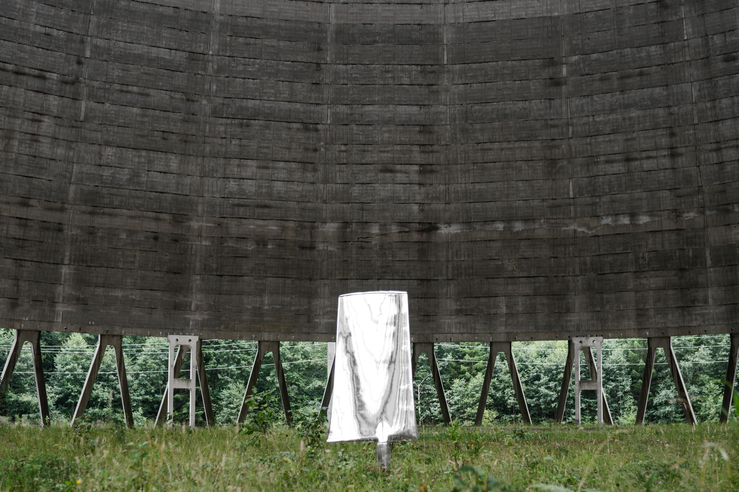 - Decommissioned nuclear tower cooling fins were recontextualized into an art installation to provoke reflection about responsible energy creation and consumption.