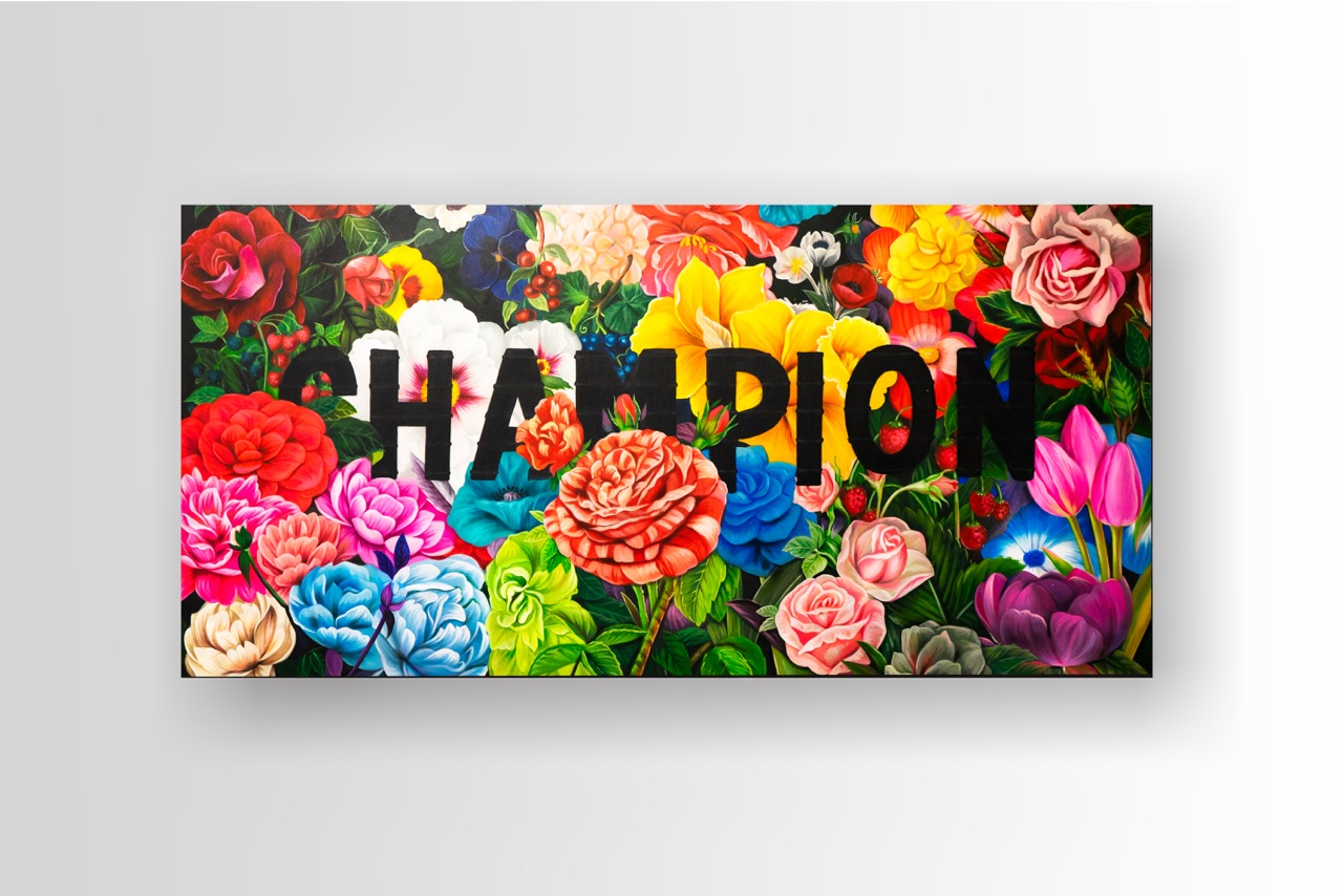 Canvas, acrylic paint, winning spirit.