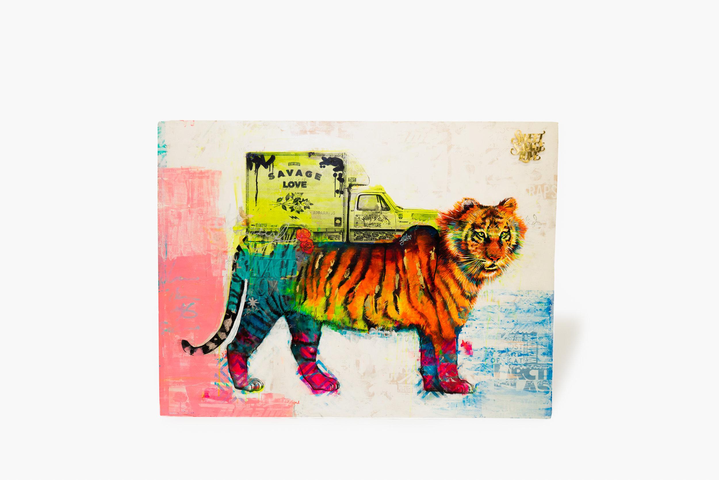 Canvas, watercolor paint, encaustic, golden wonder.