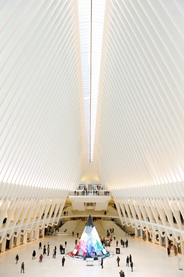 - The 30 ft. tall dress was created in the World Trade Center Oculus in the middle of the night. Combining the reduce reuse messaging with NY Fashion Week, this cathedral-like space served as a larger-than-life runway.