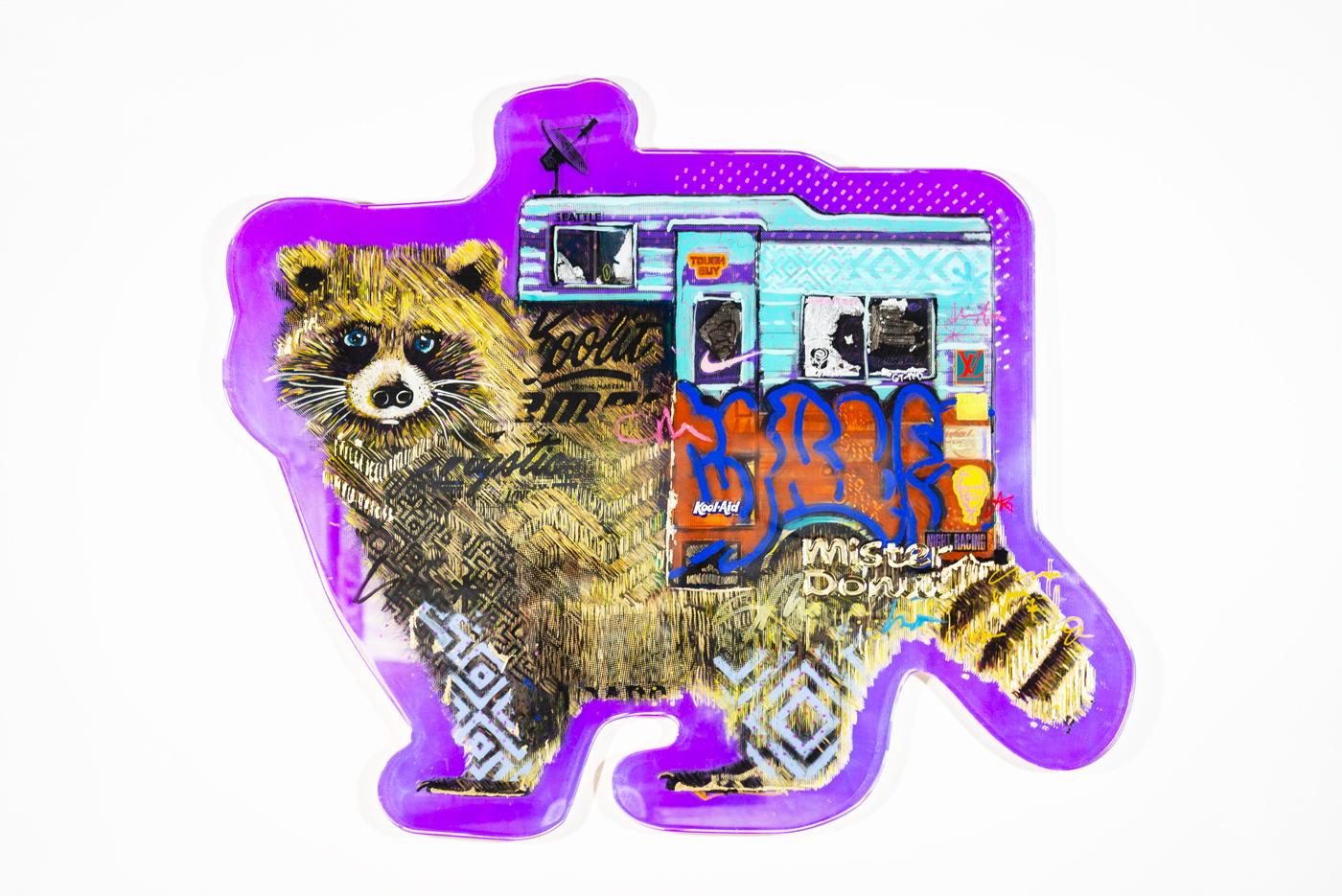 Acrylic, holographic film, ink, acrylic paint, epoxy, tiny mischief.