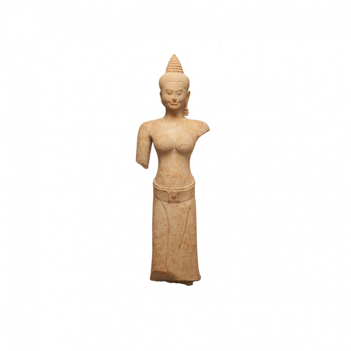 Credit: Asia Society    Female Figure (one of a pair). Cambodia. Angkor period, Bayon style, late 12th–early 13th century. Sandstone. H. 55 x W. 18 x D. 9 1/2 in. (139.7 x 45.7 x 24.1 cm). Asia Society, New York: Mr. and Mrs. John D. Rockefeller 3rd Collection, 1979.72.2