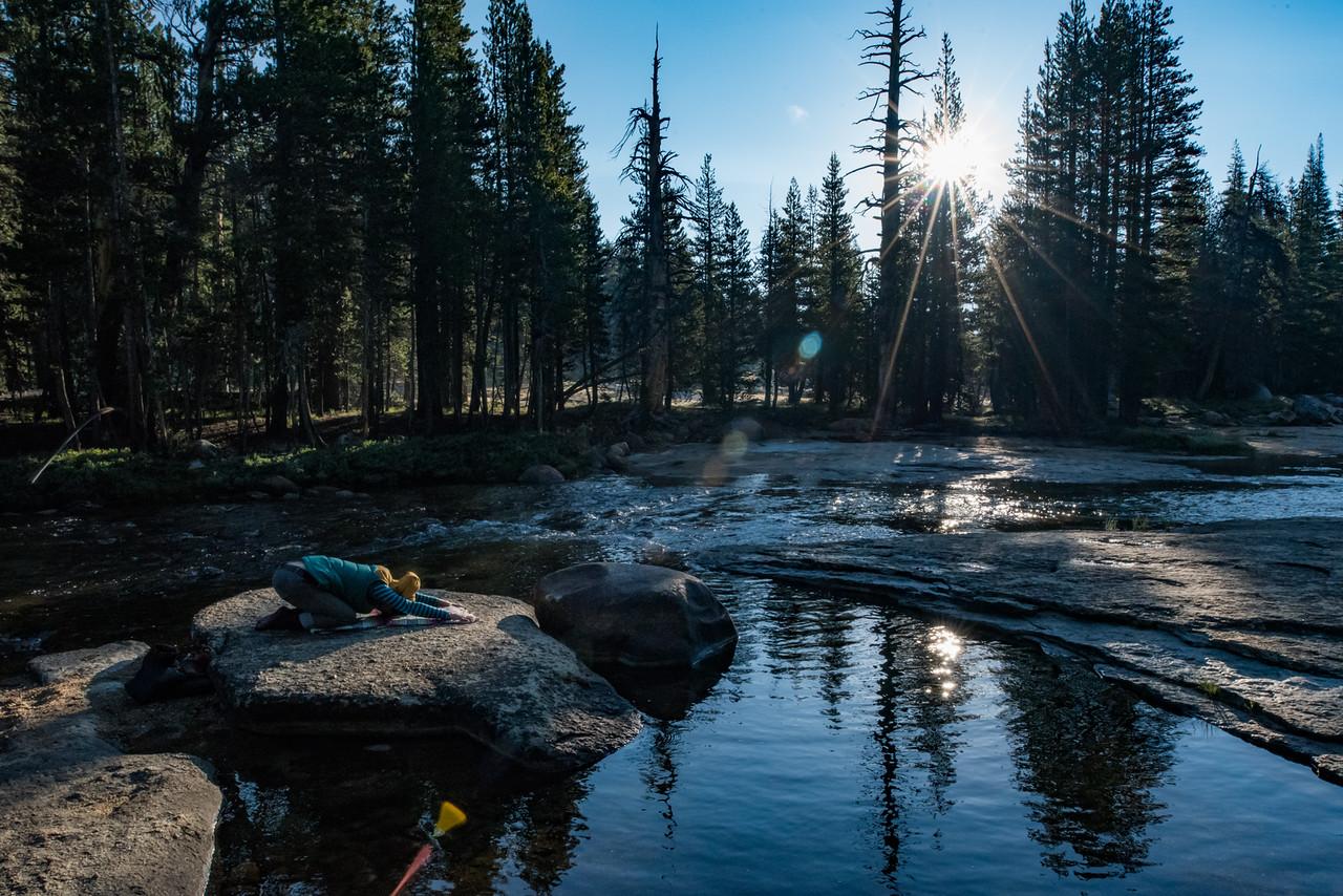 Morning Gratitude Practice on the banks of the Tuolumne River in Yosemite National Park.  Photo credit:    Patrick Bremser