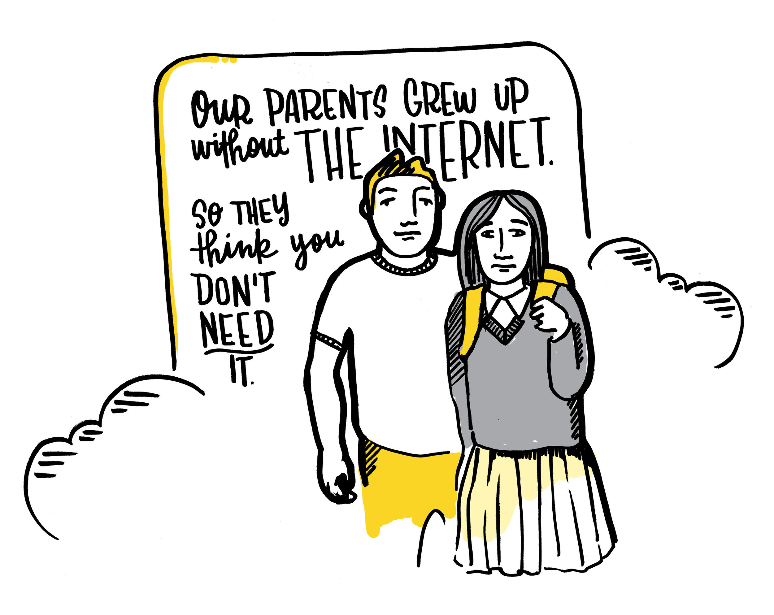 "A brother and sister with arms around each other. ""Our parents grew up without the Internet. So they think you don't need it."""