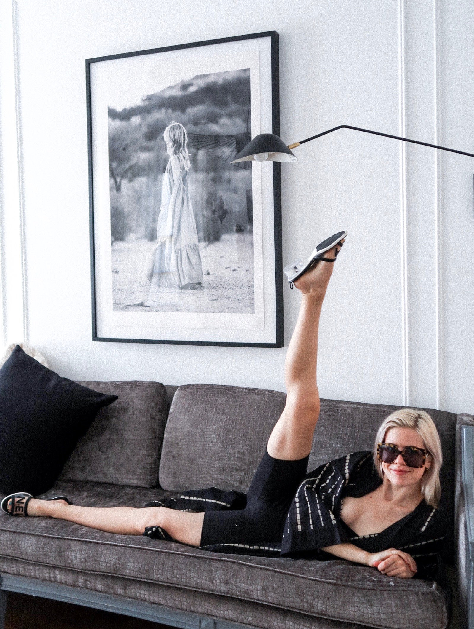 what, you don't lounge like this when you're on vacation? wearing the hotelette 'power cape'. bodysuit. sunnies. chanel sandals.
