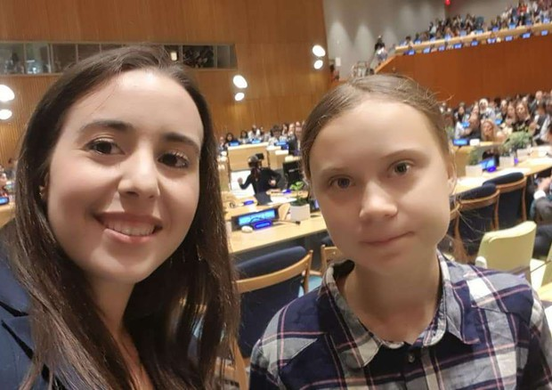 Federica Gasbarro e Greta Thunberg allo Youth Clime Summit dell' ONU in New York