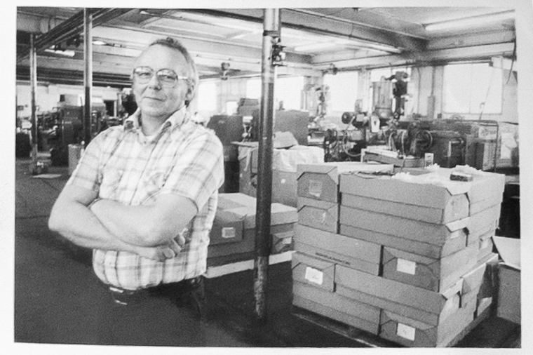 Raymond C. Wenk Sr. on the factory floor at M4.