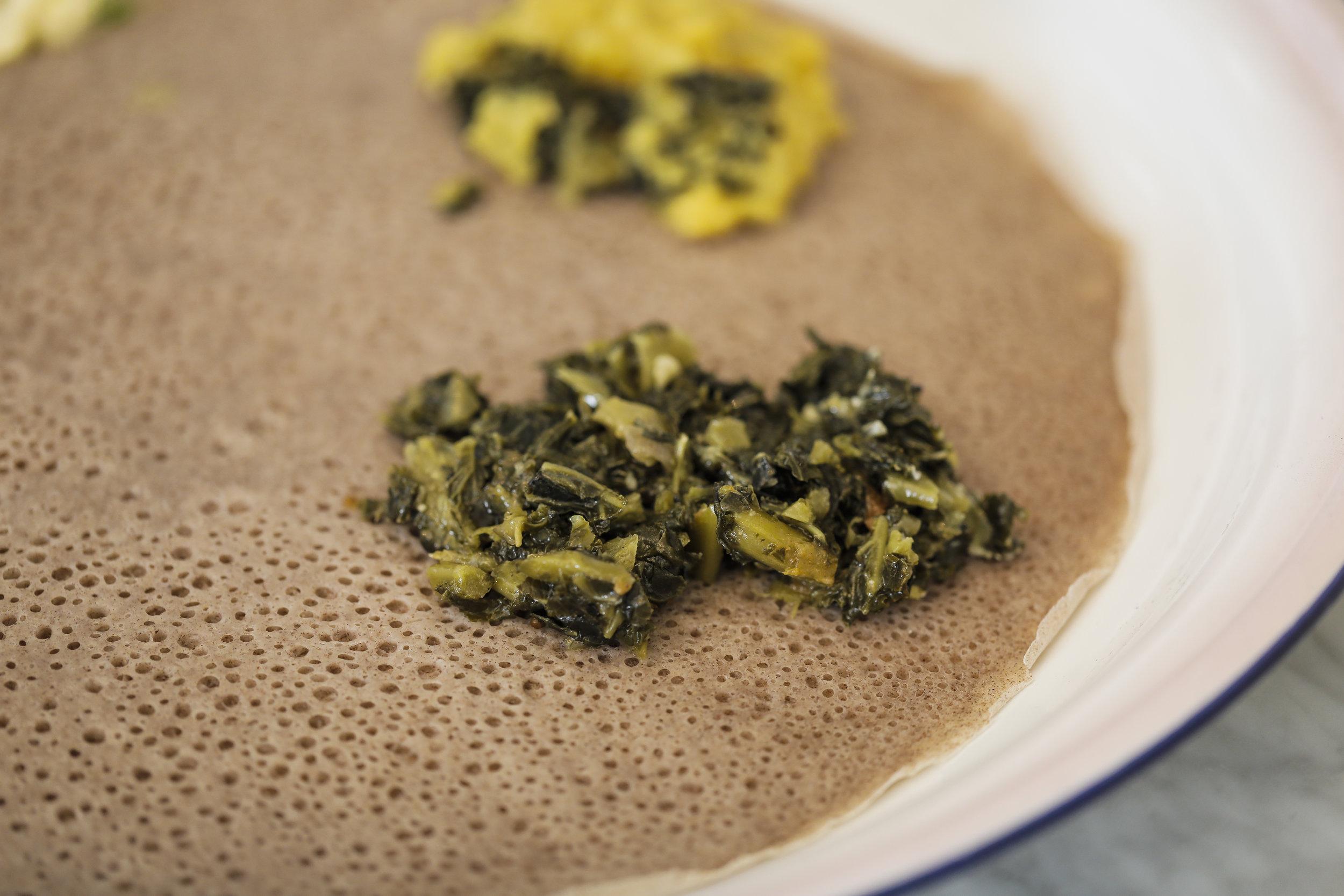 Hamli: spinach + other greens on injera