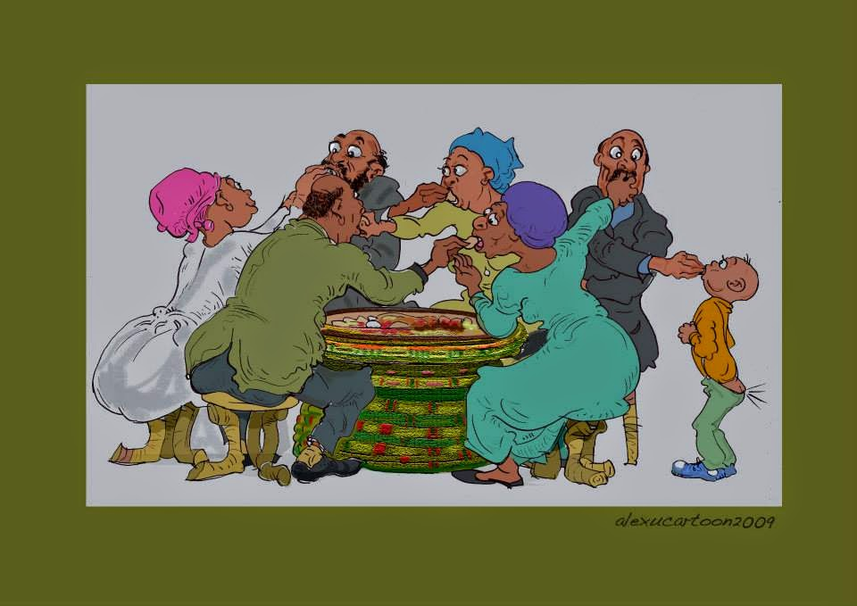 A hilarious cartoon by  Alex Tefera  displaying some serious Gursha action