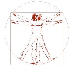 Vitruvian Man c1490     Leonardo da Vinci    The image demonstrates the blend of Mathematics, Science, and Fitness.
