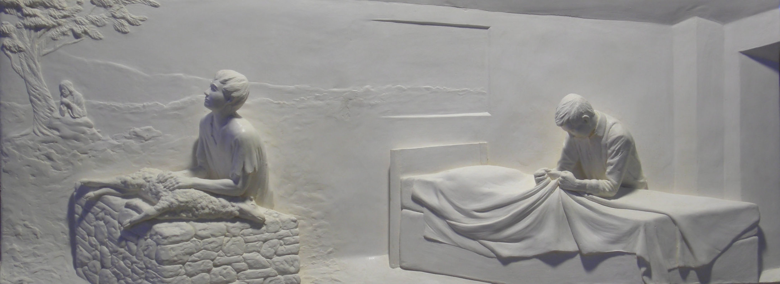 """Article of Faith # 2  Hydrocal Plaster  14"""" x 37"""""""