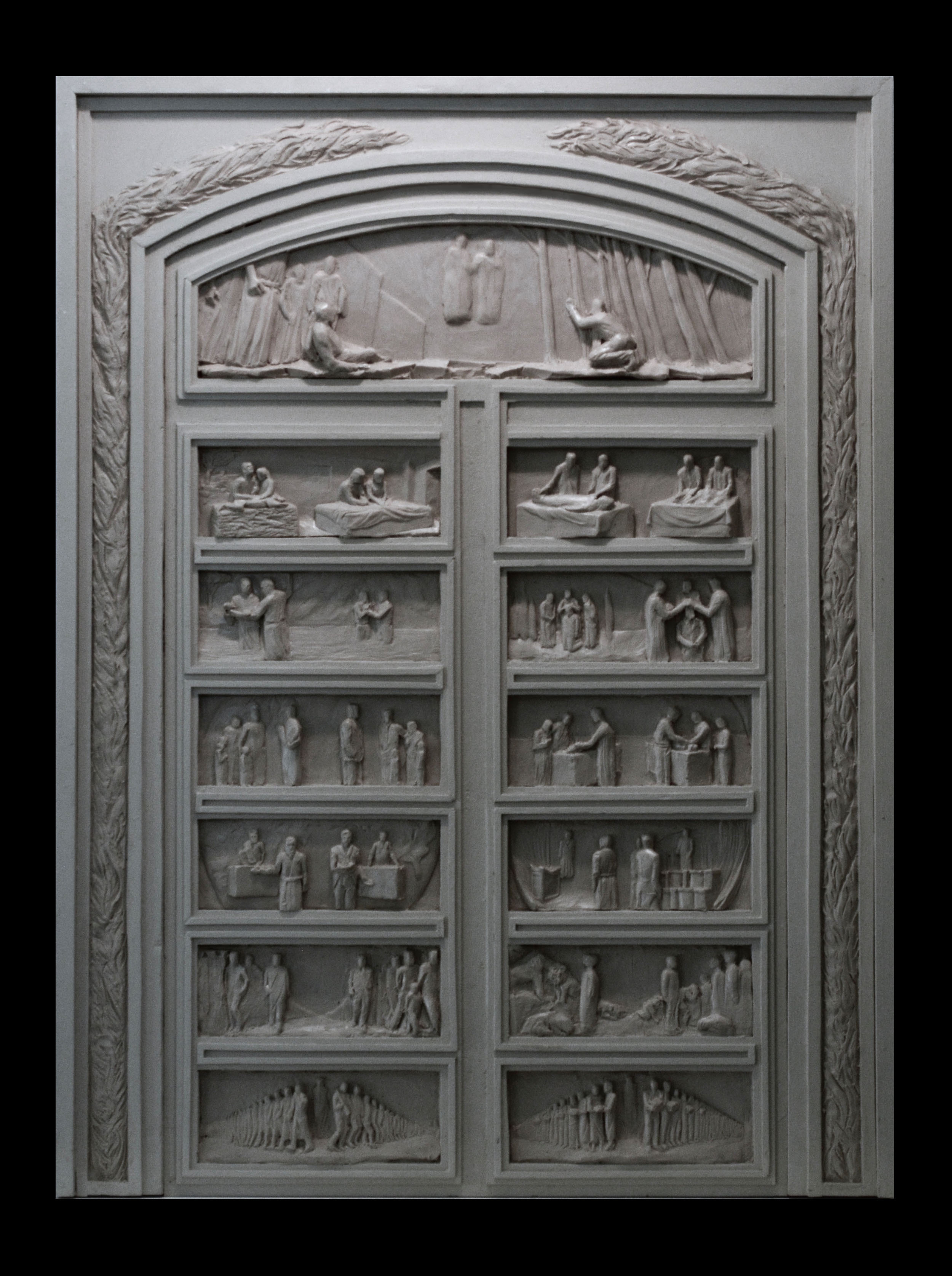 """Articles of Faith Doorway Maquette   Hydrostone Plaster  1/5 Scale — 35"""" x 25"""""""