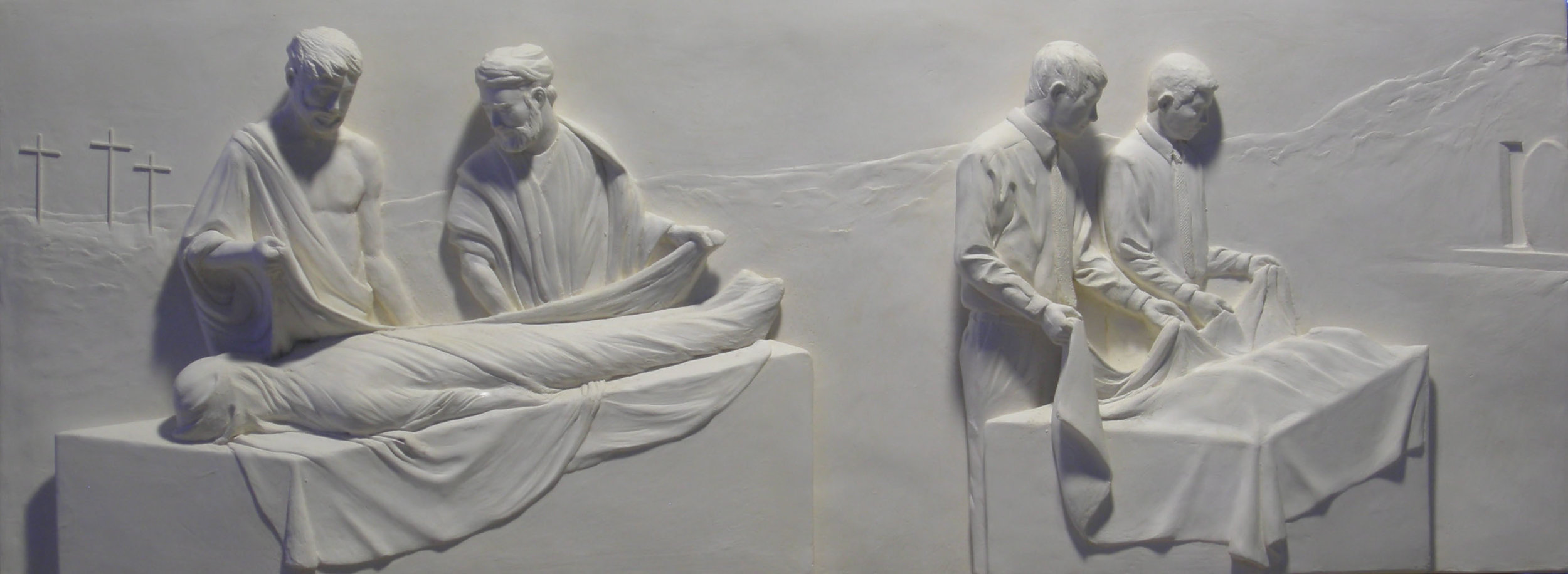 """Article of Faith #3   Hydrocal Plaster  14"""" x 37"""""""