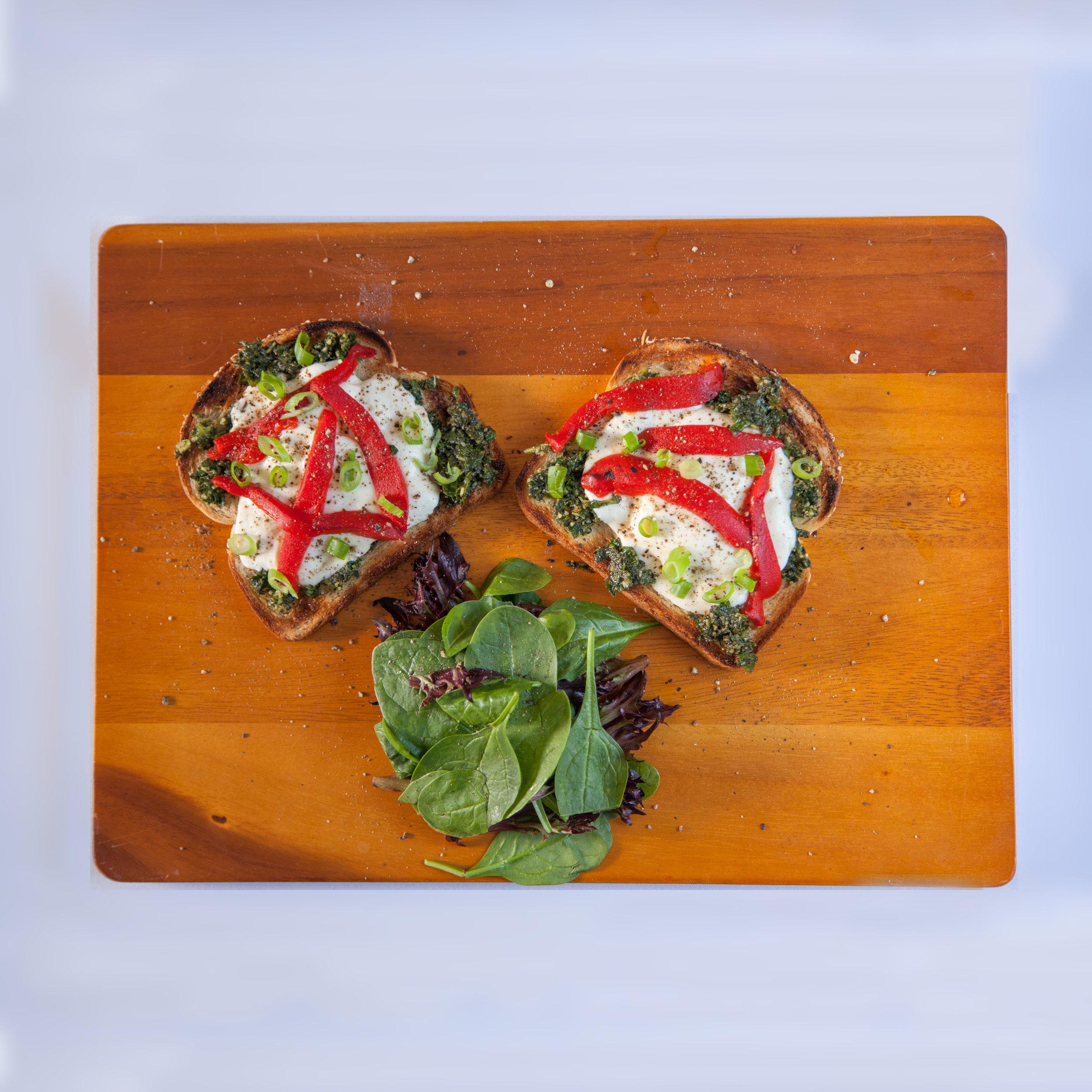 Open-face sandwich with mozzarella