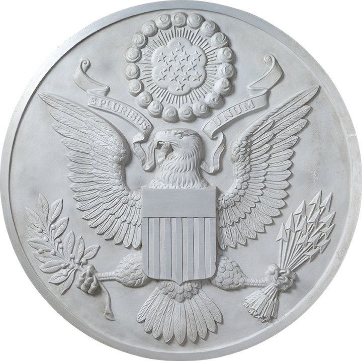 Great Seal of the United States aluminum plaque, from the Preston Cook Collection. The Great Seal of the United States, with the eagle at its center, was introduced in 1782 and became a symbol for a nation.