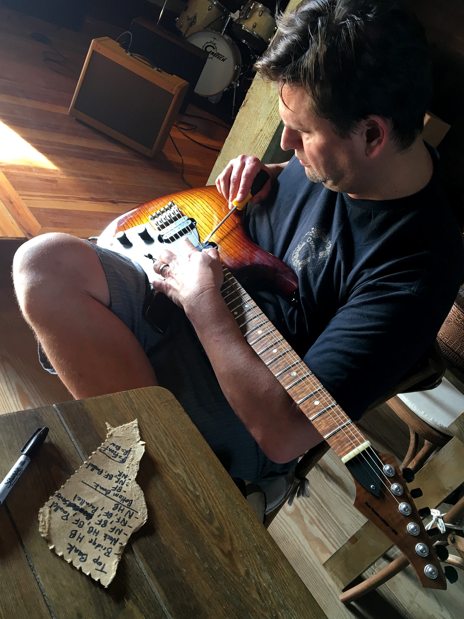 PHOTO: Steve works through pickup coil combinations on   Goshawk™   6-string.