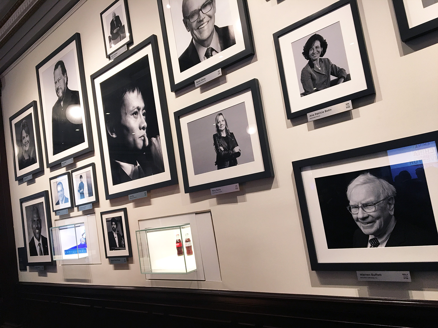 PHOTO: Jack Ma (Alibaba) dominates the wall of financial leaders. Warren Buffet (Berkshire Hathaway) lower right.