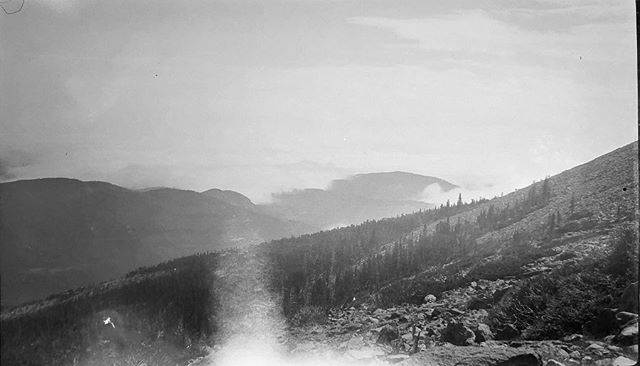 "Negative numbers 23 and 24 from the Rocky Mountain Nat. Park Album - 1924 Captioned, ""above the clouds"" #foundphoto #snapshot #familyslideshow #longlivefilm #nationalparks #rockymountainnationalpark  #vacationpic #thatview #takeahike #abovetheclouds"